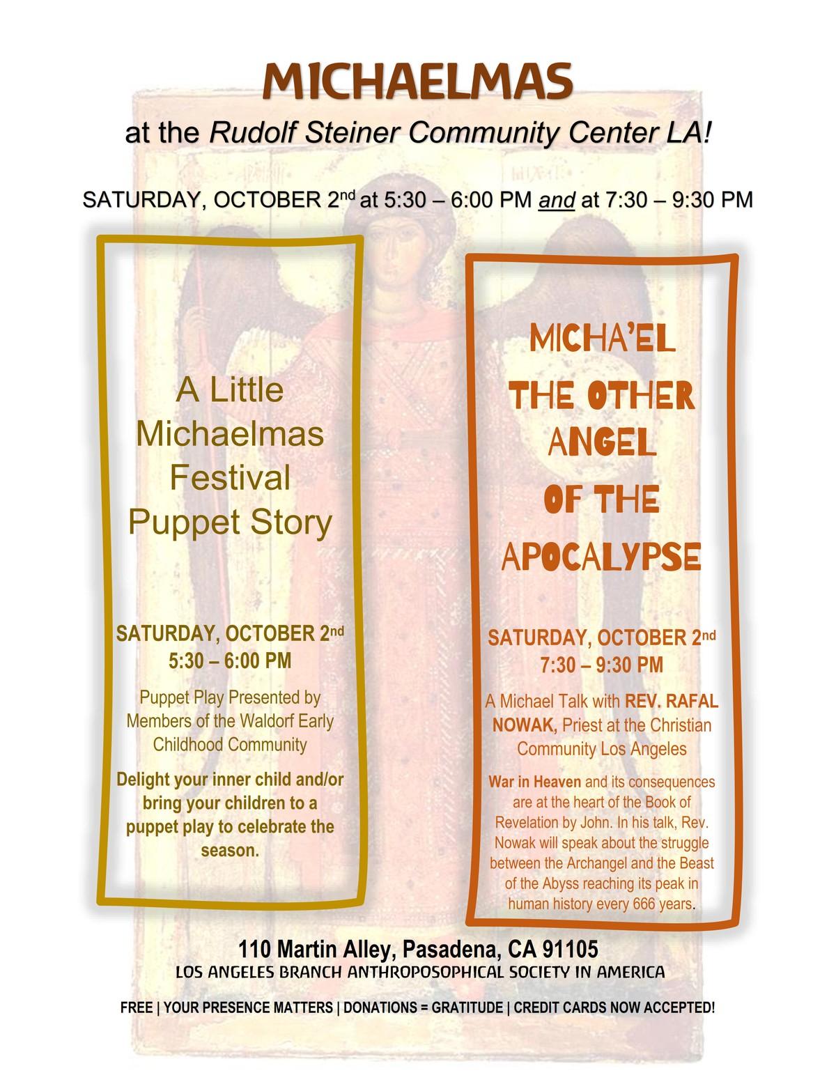 Michaelmas 2021 in Los Angeles and Pasadena